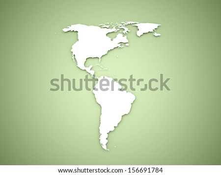 America continent on green background - stock photo