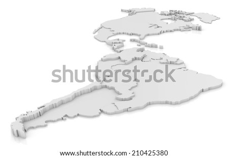 America 3D map - stock photo