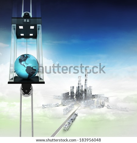 America earth globe in sky space elevator concept above city illustration