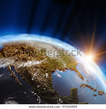 America. Elements of this image furnished by NASA - stock photo