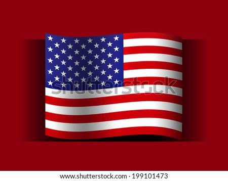 America  flag and red background