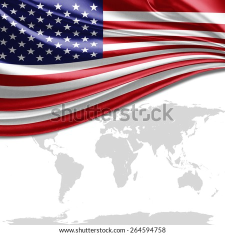 America flag and world map background - stock photo