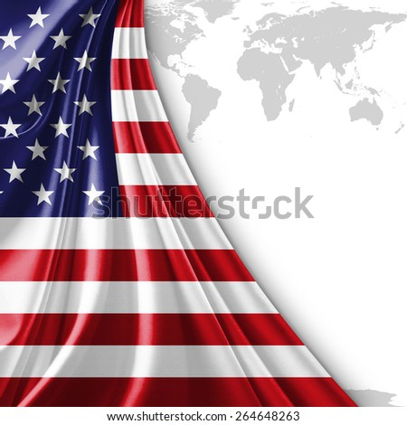 America flag world map background stock illustration 264648263 america flag and world map background gumiabroncs Images