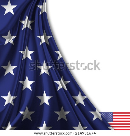 America flag fabric and white background - stock photo