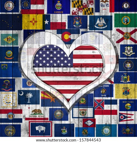 America flag,Flags of the U.S. states. background wood in the shape of heart