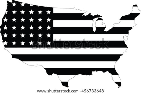 United States Map Black White Color Stock Vector - Black and white map of us