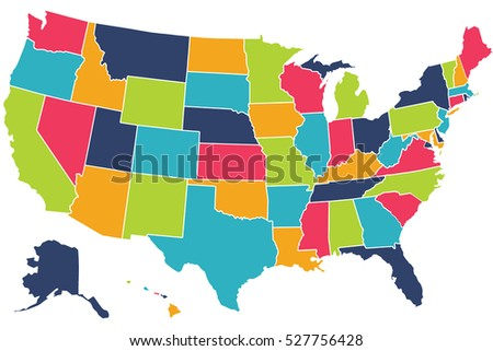 Vector Colorful Usa Map State Borders Stock Vector - Usa map images