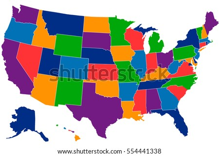 Colorful Usa Map States Capital Cities Stock Vector - Map of the states in the us
