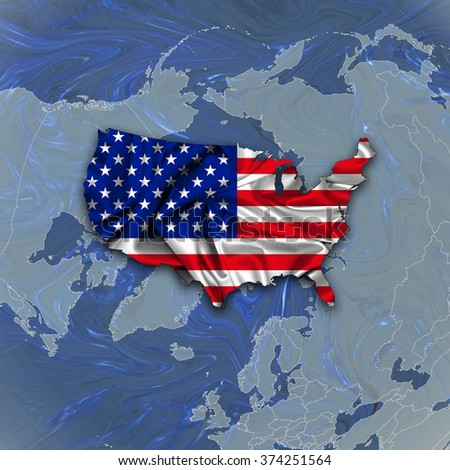 America flag, map of silk and and world map background