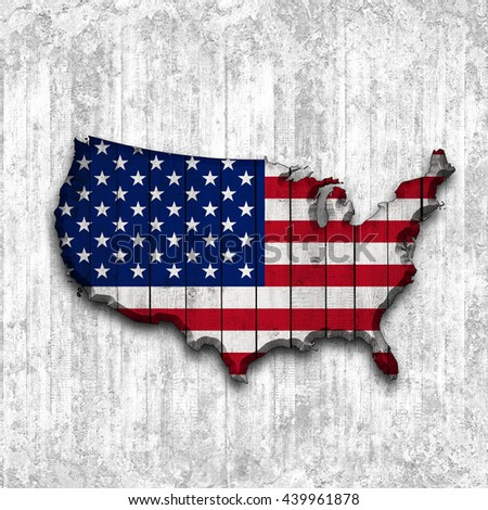 American Flag Map Wood White Background Stock Illustration - Us flag map