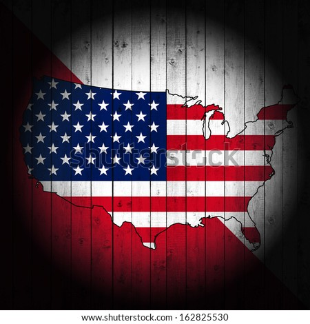 America, flag map,red and white wood background