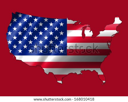America flag,map, red background