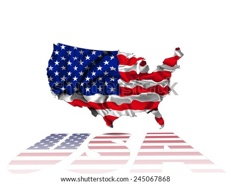 America flag,map with Usa text and white background - stock photo