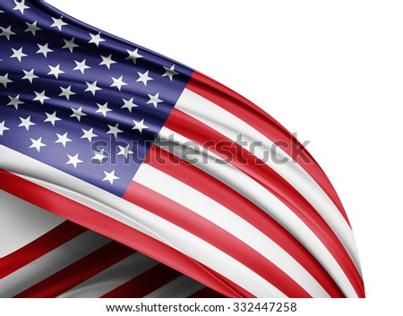 America  flag of silk with copyspace for your text or images and white background