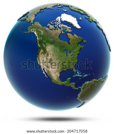 America global map - North America. Elements of this image furnished by NASA - stock photo