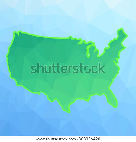 America Green Map Isolated on Blue Background