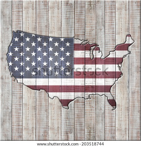 America map  and wood background