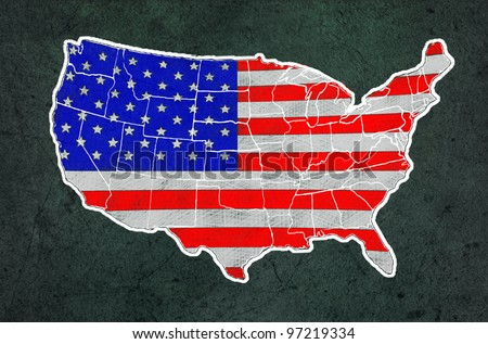 America map with flag draw on grunge blackboard