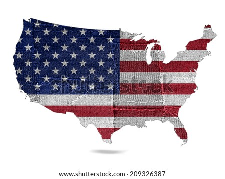 America map with jeans and white background