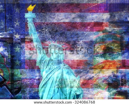 America NYC with Statue of Liberty - stock photo