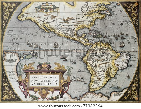 America old map, from Theatrum Orbis Terrarum, the first Atlas in the world. Created by Abraham Ortelius, published in Antwerp, 1570 - stock photo