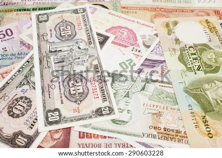 America Old Money and currencies.  - stock photo