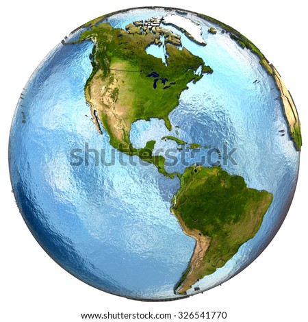 America on highly detailed planet Earth with embossed continents and country borders. Isolated on white background. Elements of this image furnished by NASA.
