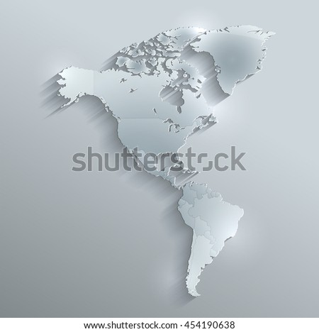 America political map flag glass card paper 3D raster individual states separate - stock photo