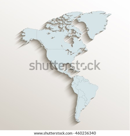 America political map white blue 3D raster - stock photo