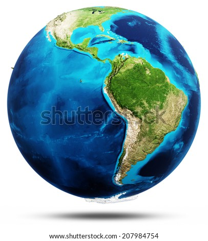 America real relief, modified maps, lighting and materials. Earth globe model, maps courtesy of NASA