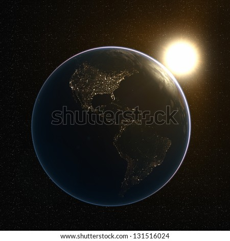 America's Lights at Night. Extremely detailed image, including elements furnished by NASA - stock photo