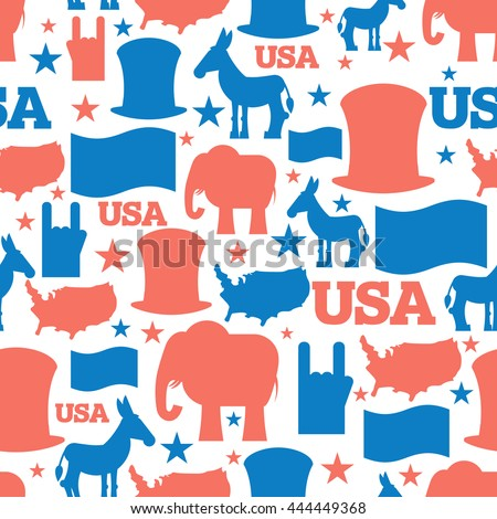 America seamless pattern. USA Election Symbols National ornament. Uncle Sam hat. American flag and map. Democrat Donkey and Republican Elephant. Patriotic background - stock photo