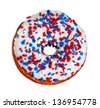 America Themed Donut with Red, White, and Blue Sprinkles and Stars Isolated on a White Background - stock photo