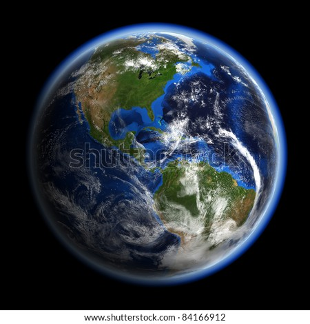 America under clouds. Earth space model.  Elements of this image furnished by NASA. - stock photo