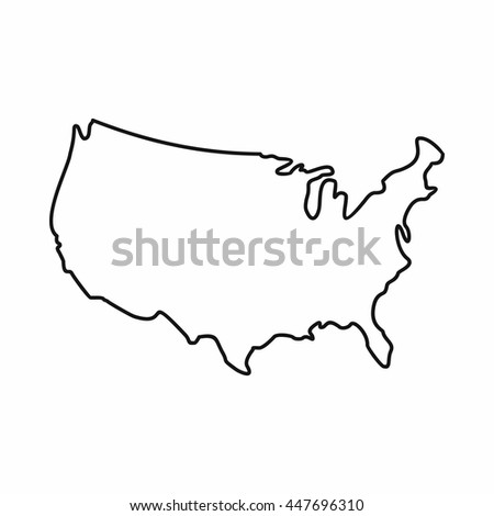 Usa Map Icon Outline Style United Stock Vector - Us map religion outline