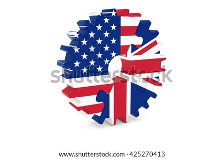American and British Cooperation Concept 3D Illustration