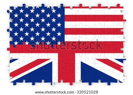 American and British Relations Concept Image - Flags of the United Kingdom and United States of America Jigsaw Puzzle - stock photo