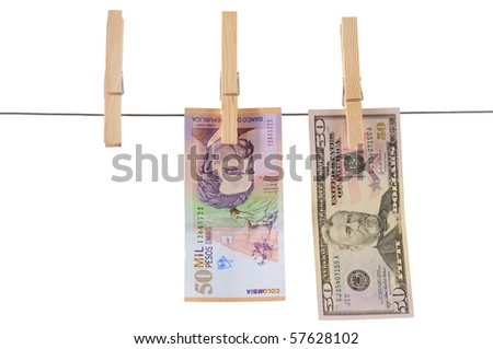 American and Colombian currencies. Isolated