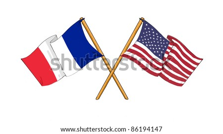 American and french alliance and friendship - stock photo