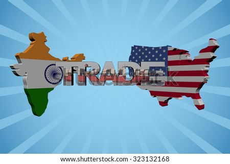 American and Indian map flags with trade text illustration - stock photo