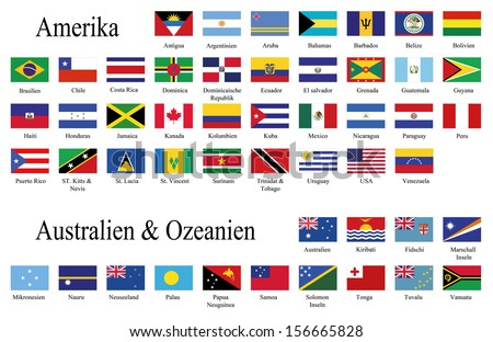 American and oceania flags