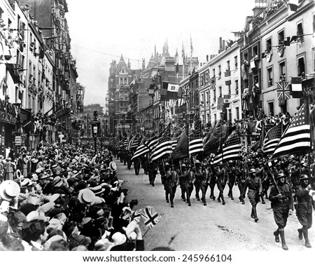 American Army troops parading in Perth, Scotland. WWI. 1918. - stock photo
