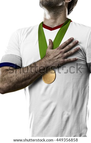 American Athlete Winning a golden medal on a white Background.