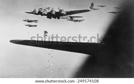 American B-17s drop bombs over Meudon, France, Sept. 23, 1943. France was the second most bombed country in Europe during the Second World War. - stock photo