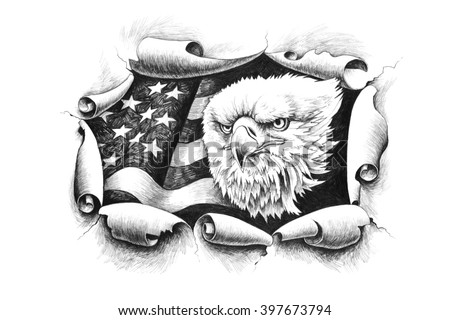 American Bald Eagle, breaking through a paper wall  on a background of the United States of America flag. - stock photo