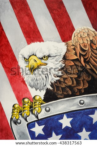 American bald eagle with a shield on the flag of the United States of America in the background. Watercolor illustration.