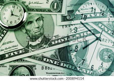 American banknotes and clocks. Time is money concept  - stock photo