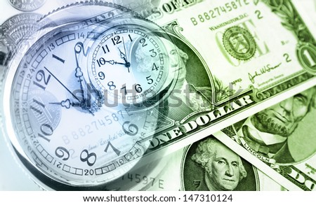 American banknotes. Clocks. Time is money concept  - stock photo