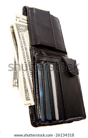 American banknotes in wallet on white - stock photo