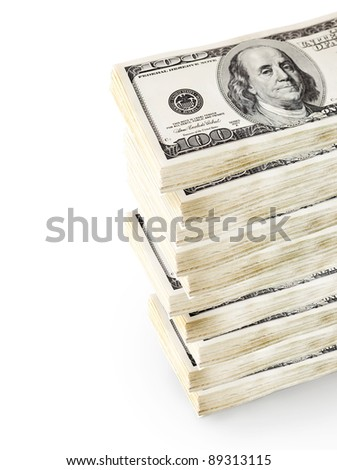 American bankrolls on a white background. - stock photo